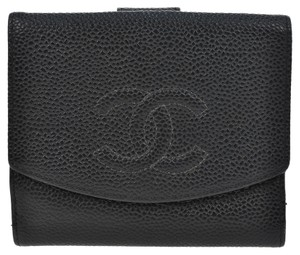 Chanel AUTHENTIC CHANEL CC LOGOS BIFOLD WALLET BLACK CAVIAR SKIN LEATHER VINTAGE
