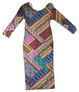 Forever 21 short dress Multi Bodycon Midi Tribal Bohemian on Tradesy