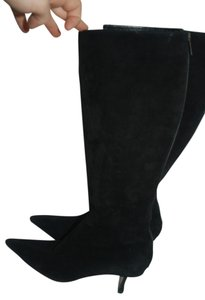 Jimmy Choo Suede Leather Stretch Knee black Boots