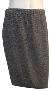 St. John Navy White Tweed Knee Length Skirt Navy/White