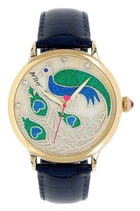 Betsey Johnson BETSEY JOHNSON PROUD PEACOCK MOTIF DIAL WATCH W BLUE CROC EMBOSSED LEATHER STRAP