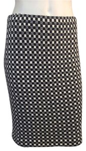 St. John New Collection Checkered Print Size 4 Skirt Black/White