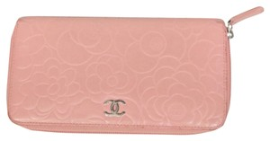 Chanel CHANEL 2.55 Camellia Pink Floral Quilted Lambskin Leather CC Chrome Long Wallet