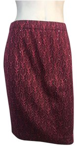 St. John New St Evening Skirt Burgundy/Black