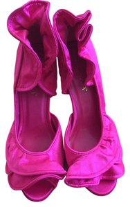 Other Satin Ruffles Pink Fuchsia Peep Toe Heels Women Fuschia/Pink Pumps
