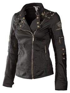 Mur Mur by Monoreno Denim Military Leather Military Jacket