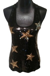 2b bebe Stars Shimmery Blingy Dressy Top Black and Gold
