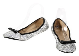 Kate Spade Fold Up Glitter Patent Leather Silver Flats