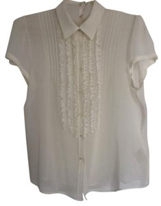 Piazza Sempione Ruffled Top white
