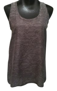 Theory Silk Sleeveless Sleeveless Flowers Top Gray