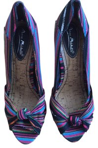 Other Women Peep Toe Canvas Striped Black Multi Pumps