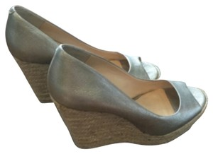 Vince Camuto Leather Silvery/gold Wedges