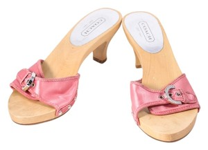 Coach Satin Wooden Heels Studded Buckle Pink Mules