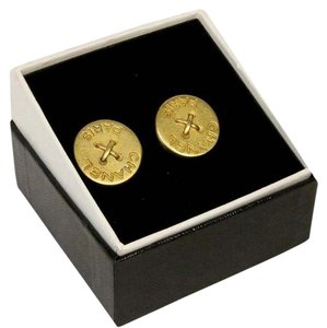 Chanel CHANEL Signature Button Detail Gold Tone CC Monogram Gold Earrings