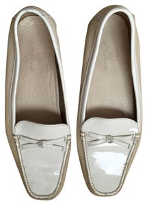 Cole Haan Patent Leather Loafers Off White Tan and creme Flats