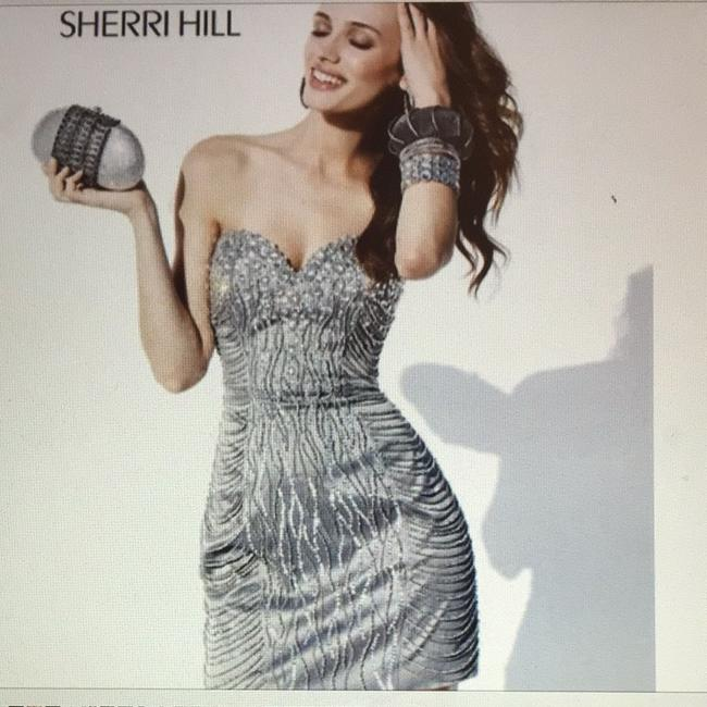 Sherri Hill Beaded Sequin Cocktail Prom Evening Gown Dress