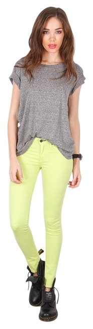 Item - Neon Green Light Wash Stretch Jeggings New Skinny Jeans Size 24 (0, XS)