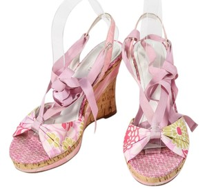 Coach Cork Open Toe Floral Pink Wedges