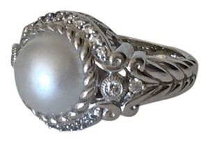 Judith Ripka PEARL and DIAMONIQUE STATEMENT RING SZ 7