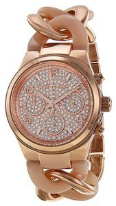 Michael Kors Crystal Pave Dial Rose Gold Blush Acetate Chain Link Bracelet Dress Watch