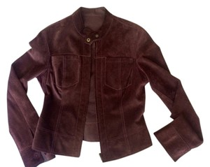 June Thin Suede Brown Zip Reversible Suede Rich Brown Leather Jacket