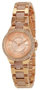 Michael Kors Rose Gold Blush Acetate Crystal Pave Bezel Designer Ladies Watch