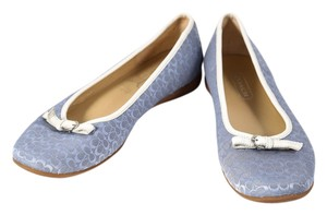 Coach Monogram Leather Buckle Blue Flats