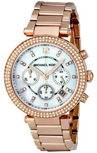 Michael Kors Rose Gold Crystal Pave Bezel Mother of Pearl Dial Ladies Designer watch