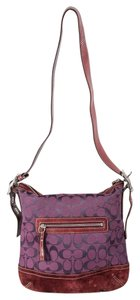 Coach Zip Closure Monogram Tassel Cross Body Bag