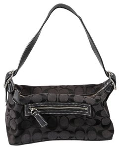 Coach Soft Signature Canvas Zip Closure Shoulder Bag
