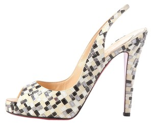 Christian Louboutin White Ivory Sequin Lb.j1230.07 Slingbacks Pumps