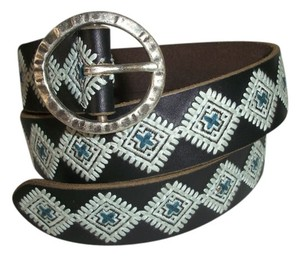 Lucky Brand Belt Embroidered Leather - M - Diamond Pattern