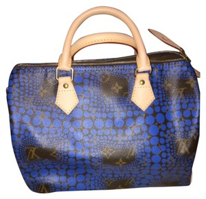 Louis Vuitton Yayoi Kusama Speedy 30 Limited Edition Satchel in Blue