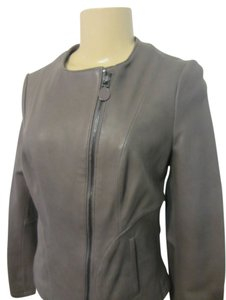 Tahari grey Leather Jacket