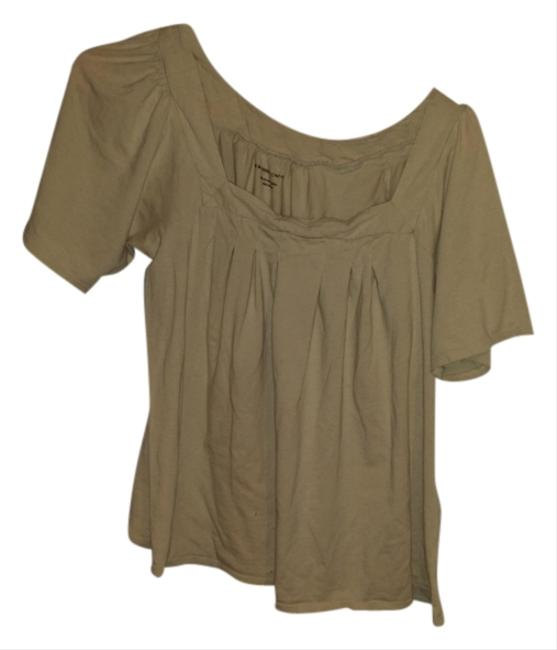 New York & Company Cotton Casual Comfortable Flowy T Shirt Beige