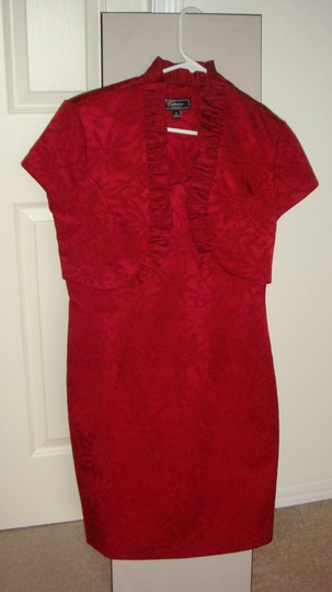 dressbarn Red 99% Polyester; 1% Spandex Collection Traditional Dress Size 8 (M)