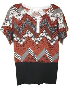 August Silk Argyle Geometric Print Stretchy Abstract Sweater