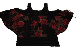 Guess By Marciano Top Black with flower accent