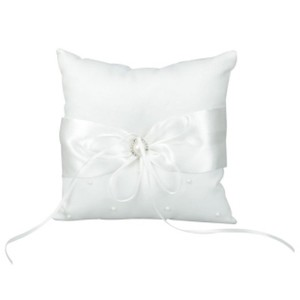 White New Satin with Ribbon Detail Ring Bearer Pillow