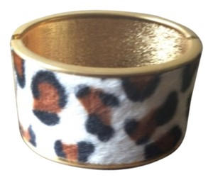 Fur Leopard Print Thick Bangle Bracelet Cuff