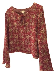 agnès b. T Shirt Red with coffee colored flowers.