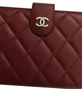 Chanel Chanel Classic Red Caviar L-zip Wallet with Silver Hardware
