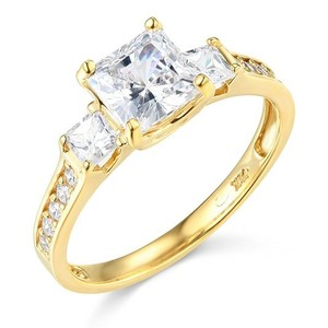 14k Yellow Gold 3 Stone Princess Cut Engagement Ring Size 5 5 6 7 8 9 10