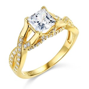 14k Yellow Gold Man Made Diamond Princess Cut Engagement Ring Size 5 6 7 8 9 10