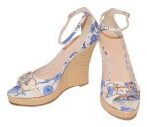 Gucci Floral Blue/white Wedges