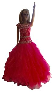 Rachel Allan Pageant Kids Ball Gown Gown Beading Sequin Ombre Bright Sparkle Drop Waist Dress
