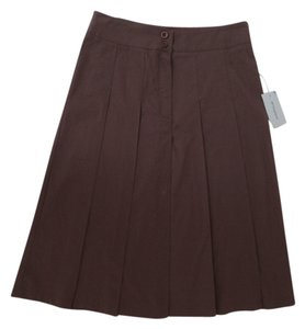 French Atmosphere Pleated European Skirt Brown