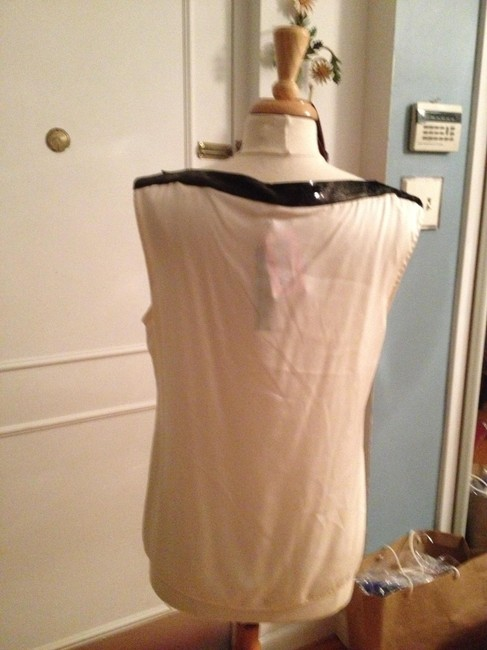 Elie Tahari Silk Top Cream with Black Sequins