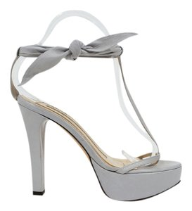 dusica dusica Leather T Strap Grey Silver Platforms