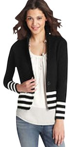 Ann Taylor LOFT Cotton Sweater Jacket Striped Navy/White Blazer